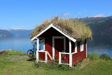 Grass roofed Hut in Norway
