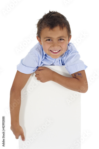 boy supported by a white board