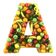Letter - A made of fruits. Isolated on a white.