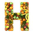 Letter - H made of fruits. Isolated on a white.