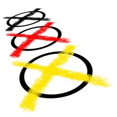 3 Wahlkreuze schwarz rot gold Perspektive