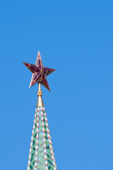 Closeup of the star on the Moscow Kremlin tower, Russia