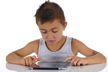 boy with electronic book