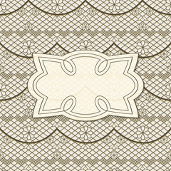 vector background with seamless lacy  pattern and frame for your