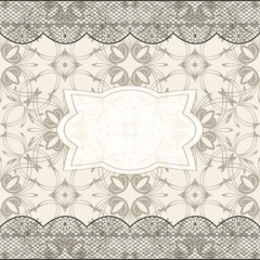 vector background with seamless pattern, lacy borders, and frame