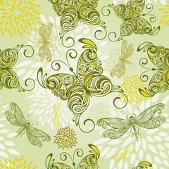 vector seamless pattern with butterflies, dragonflies, and abstr