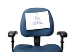 Office chair with a FOR HIRE sign isolated on white background