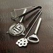Cocktail making tools (whisk, strainer, tray, bottle opener, ice tongs, and stirrer)