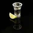 Shot of tequila with salt rimmed glass and wedge of lime