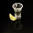 Shot of tequila with salt rim and lime