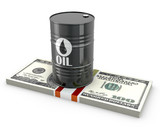 Barrel of oil on a pack of dollars