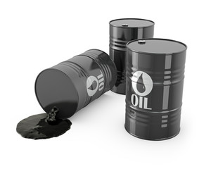 Three barrels and spilled oil