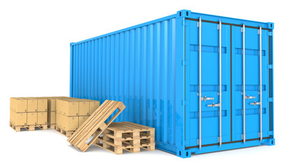 Cargo Container and Goods. Warehouse and distribution series.