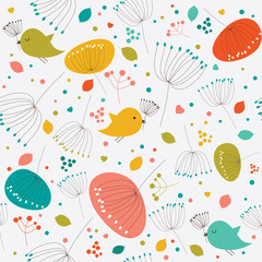 Seamless floral pattern, texture with flowers and birds