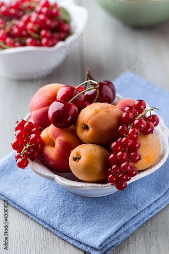 Bowl of mixed summer  fruits