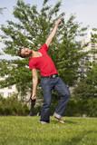 30s man dancing of joy poster