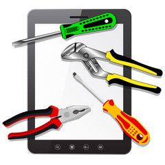 tablet PC computer  with tools