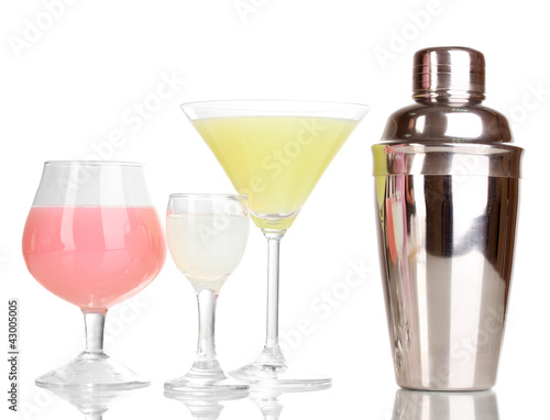Tasty cocktails isolated on white