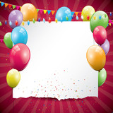 Fototapety Colorful Birthday background with balloons and place for text