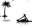 Family on pedal boat  in sea near the palm trees silhouette