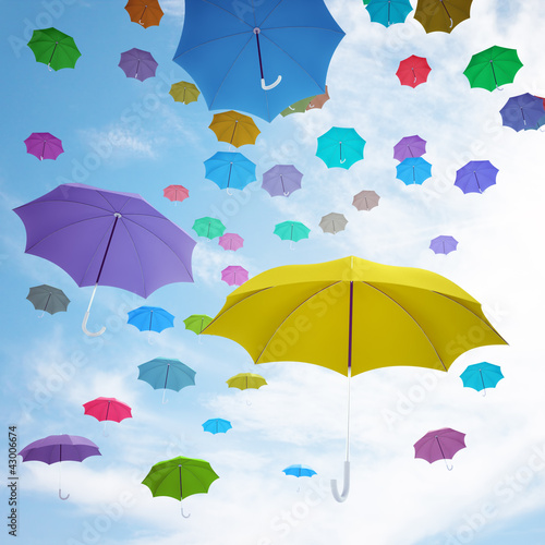Fridge magnet Flying  colorful umbrellas