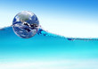 Earth globe floats on water ripples. Elements of this image furn