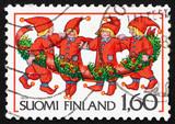 Postage stamp Finland 1986 Elves, Christmas poster