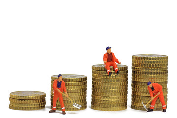 münzen mit arbeiter