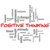 Positive Thinking Word Cloud Concept in Red Caps