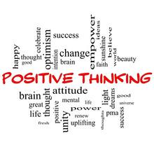 Pensée Positive Word Cloud Concept dans Red Caps