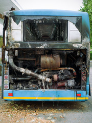 burned out city bus