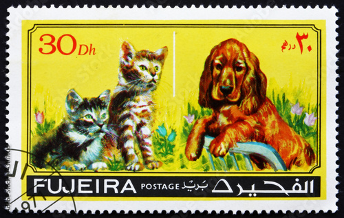 Postage stamp Fujeira 1971 Dog and Cat, Pets