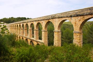 Beautiful view of roman Aqueduct Pont del Diable in Tarragona