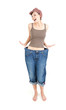 successful losing weight - woman in big trausers