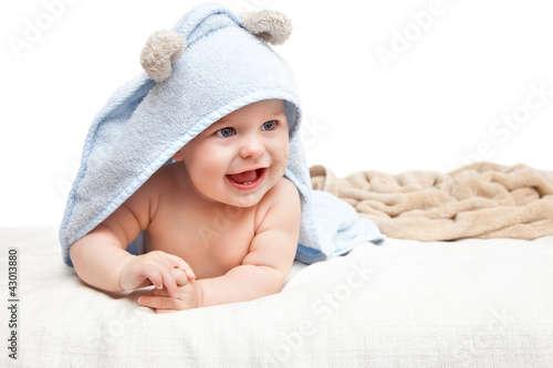 Cute crawling baby