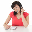 beautiful businesswoman with headset, call center