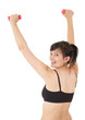cheering young woman working out with small dumbbells