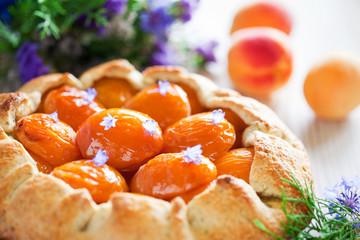 Tart with apricots