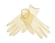 Latex gloves on white background
