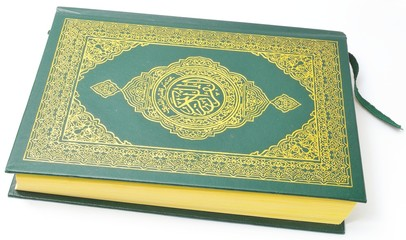 Holy Quran from the side Isolated With a white background