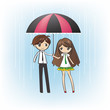 Loving Couple in the rain--blue bg(vector)