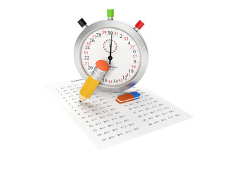 3d Illustration: Stopwatch and examination sheet. Passing the ex