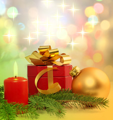 Christmas candle gift and bauble background