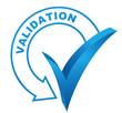 validation sur symbole validé bleu