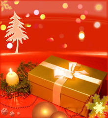 Christmas golden gift on red abstract background design