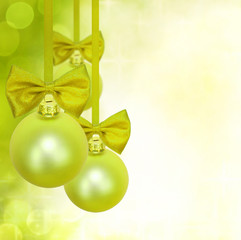 Christmas green background with baubles