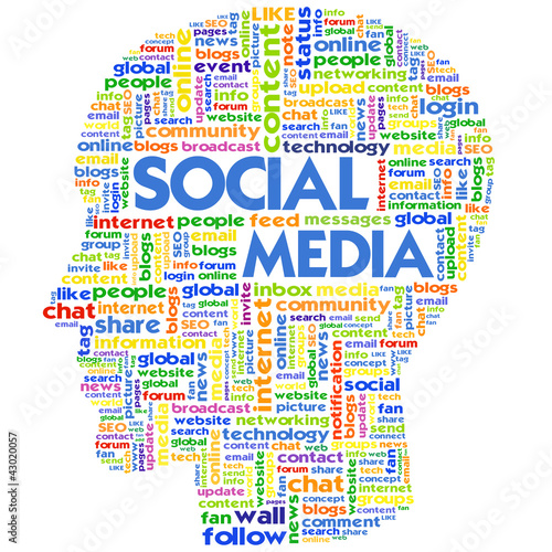 Head with the words on the topic of social networking and media