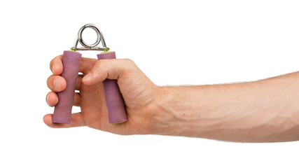 Man holding a purple hand trainer