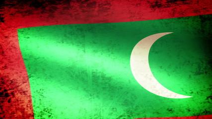 Maldives Flag Waving, grunge look