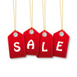 Colourful hanging sales tags red